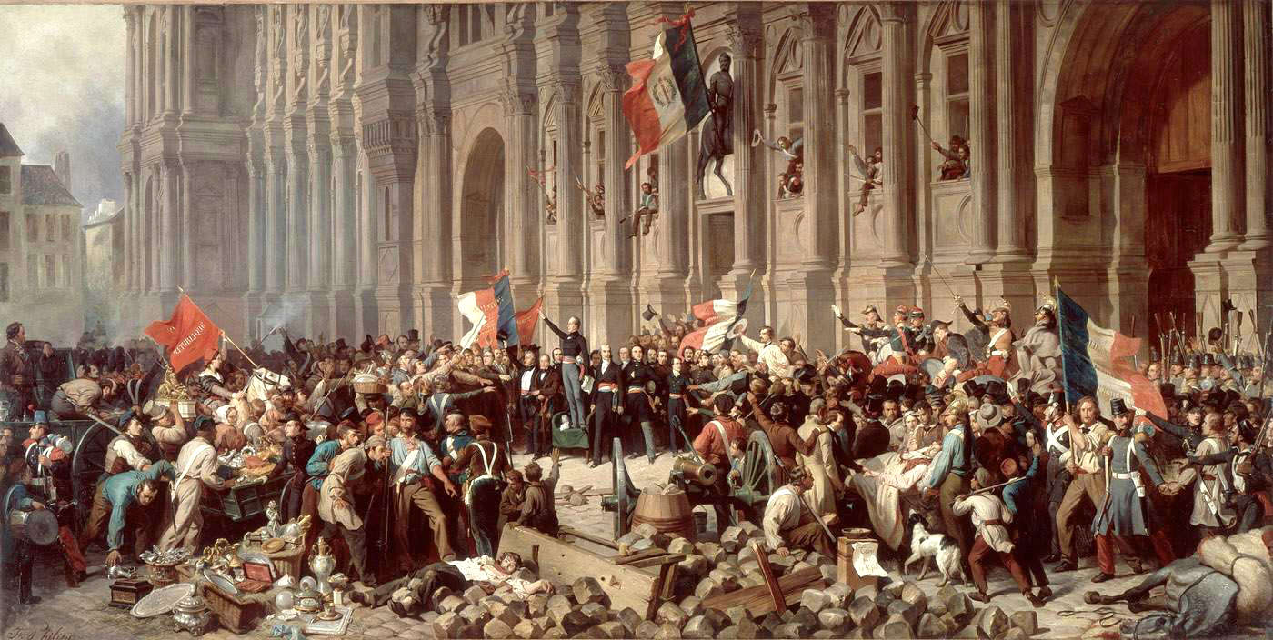 Lamartine in front of the Town Hall of Paris. Oil painting by don de M. Lindet (1901). PD-Art. Wikimedia Commons.