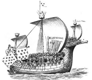 Ship of William the Conqueror Fred Jane, Heresies fo Sea Power (1906), Public Domain, Wikimedia Commons