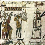 Detail of Bayeux Tapestry: Halley's Comet. Embroidery (unknown seamstress). PD-US-No Notice. Wikimedia Commons.
