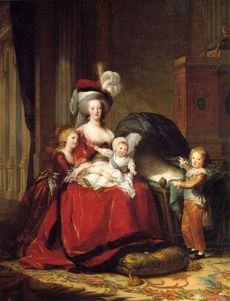 Marie Antoinette and her children. Painting by Louise Élisabeth Vigée le Brun (1787). Palace of Versailles. PD-Art. Wikimedia Commons.