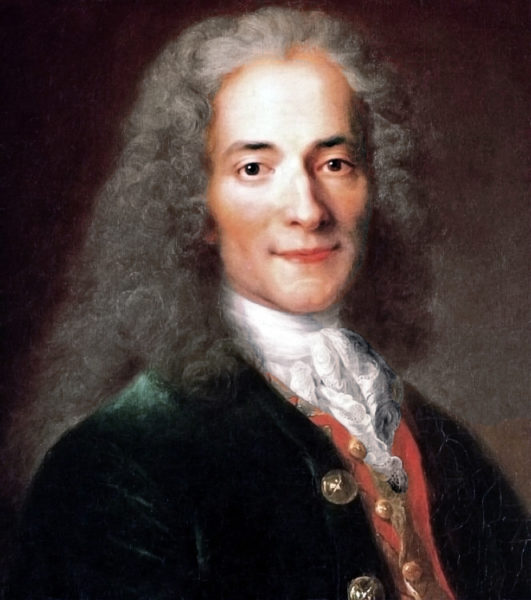 Voltaire (at the age of twenty-four). Oil Painting by Nicolas de Largillière (c. after 1725). Musée national du Chateau de Versailles. PD-100+. Wikimedia Commons.