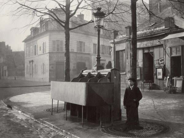 Cast iron and slate urinal with three stalls. Avenue du Maine, Paris. Photo by Charles Marville (c. 1865). Gift; Government of France; 1881. PD-100+. Wikimedia Commons.
