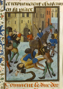 Assassination of Louis, Duke of Orléans. Illustration by unknown (c. 1470-1480). Bibliothèque nationale de France. PD-100+. Wikimedia Commons.