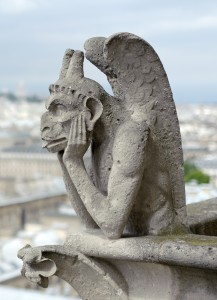 Chimera at Notre-Dame de Paris. Photo by Jawed Karim (2014). PD-CCA Share Alike 3.0 Unported. Wikimedia Commons.