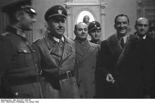 Marseille, 23 January 1943. René Bousquet is second from right. Photo by Wolfgang Vennemann (1943) and courtesy of Bundesarchiv, Bild 1011-027-1475-38. PD-CC-BY-SA 3.0. Wikimedia Commons