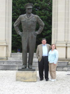 Stew and Sandy next to Ike's statue in Normandy. Photo by Jacques 2007.