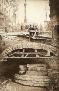 Foundation—Liberty Tower—of the Bastille during excavation of Métro line. Photo by unknown (1899). Wikimedia Commons.