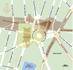 Overlay of Bastille location on contemporary map. Overlay by Locomotion Creative (2014). Author's collection.