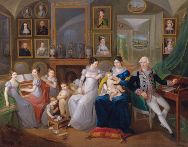 Gabriel Joseph de Froment, Baron de Castille (1747-1826) and his wife Princess Hermine Aline Dorothee de Rohan with their family. Painting by anonymous (1825). Sothebys. PD-100+ Wikimedia Commons.