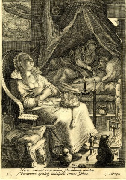 A bedroom with a couple in bed under a conaopy, a maid asleep in a chair. Engraving by Jan Saenredam (c. 1595). British Museum. PD-70+ Wikimedia Commons.