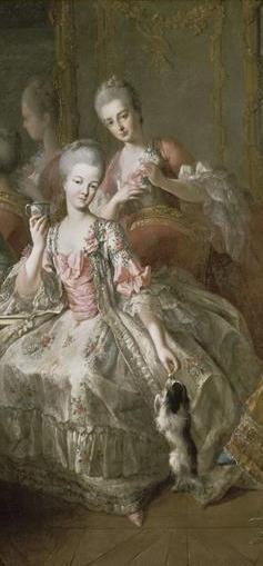 Madame de Lamballe with Mademoiselle de Penthièvere. Painting by Jean Baptiste Charpentier le Vieux (1768). PD- 100+ Wikimedia Commons.