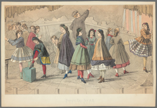 Boxing Day for Dancers. Engraving by anonymous (1850). PD-100+ Wikimedia Commons.