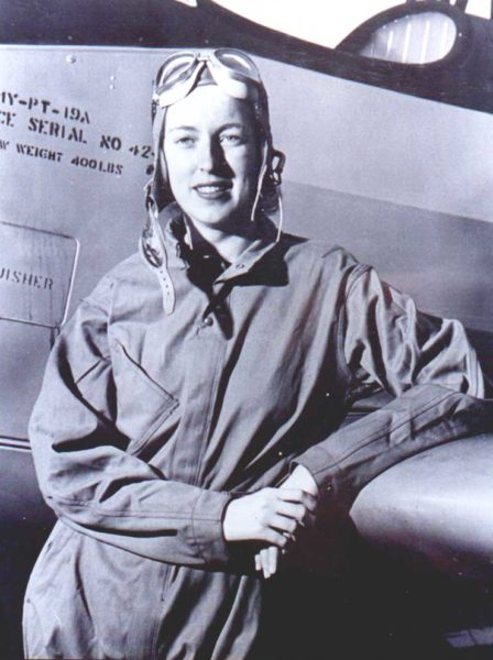 Cornelia Fort (with a PT-19A). Photo by anonymous (c. 1942). PD-USGOV. Wikimedia Commons.
