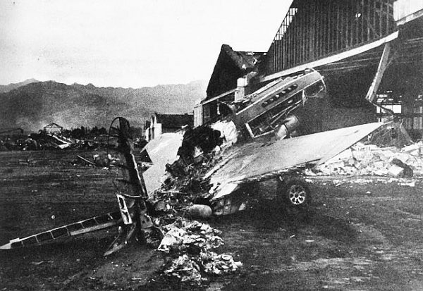 A destroyed Curtiss P-40 at Wheeler Field, Oahu, 1941. Photo by anonymous (December 1941). PD-USGOV. Wikimedia Commons.