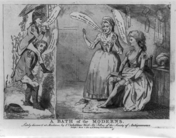 A bath of the moderns. Captain Bissett on the shoulders of Richard Worsley, watching Lady Worsley pull up her stockings. Engraving published by E. Darchery (1782). British Cartoon Prints Collection – Library of Congress. PD-70+ Wikimedia Commons.
