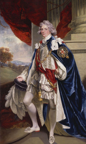 Portrait of George IV, when Prince of Wales. Painting by John Hoppner (1790). Royal Collection. PD-100+ Wikimedia Commons.