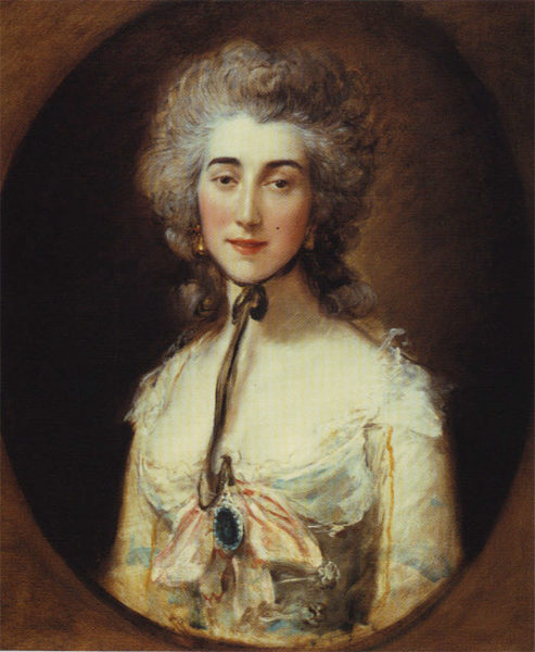 Portrait of Grace Elliott. Painting by Thomas Gainsborough (c. 1782). Frick Collection. PD- 100+ Wikimedia Commons.