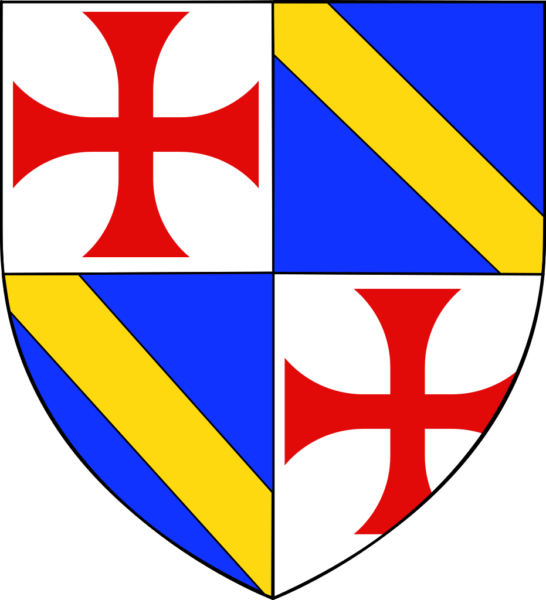 Coat of arms of Jacques de Molay, last Grand Master of the Knights Templar. Illustration by Odejea (2008). Musée de Versaille. PD-Creative Commons Attribution-Share Alike 3.0. Wikimedia Commons.
