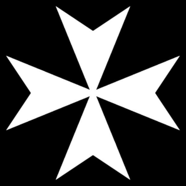 Cross of the Knights Hospitaller: a white Malta cross on the black background. Illustration by Own Work (2009). PD-Author's release. Wikimedia Commons.