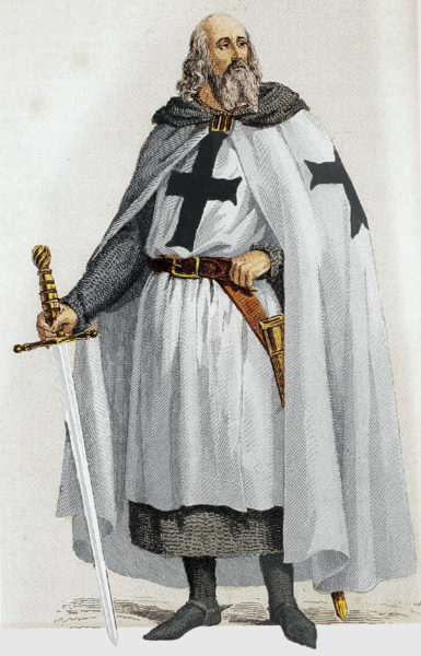 Jacques de Molay. Illustration by anonymous (c. 19th century). Bibliotheque Nationale de France. PD-70+ Wikimedia Commons.