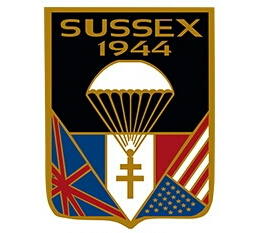 Insignia of Plan Sussex 1944. Photo by Sussex 44 (2016). With gratitude to Dominque Soulier and Collection SUSSEX 1944 – MM PARK – 67610 La Wantzenau. PD-Creative Commons Attribution-Share Alike 4.0. Wikimedia Commons.