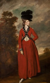Lady Worsley wears a riding habit. Painting by Sir Joshua Reynolds (c.1776). Harewood House. PD-100+ Wikimedia Commons.