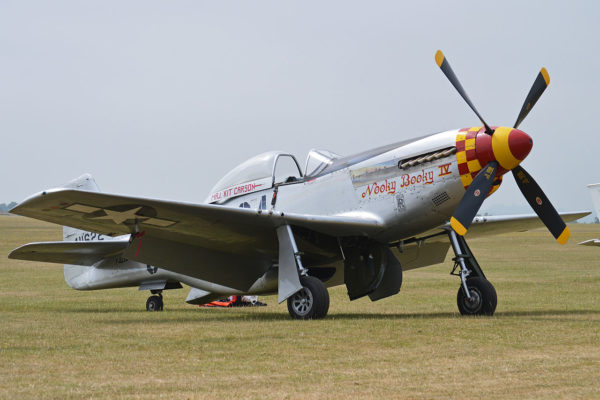 "This Mustang is painted to represent ""Nooky Booky IV"" flown by Major ""Kit"" Carson of the 362nd Fighter Squadron, 357th Fighter Group based at Leiston in Suffolk. Photo by Alan Wilson (2013). PD-Author's release. Wikimedia Commons."