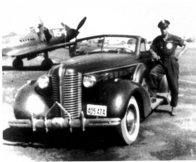 Bill and his cherished 1938 Buick in California in 1943. Photo by anonymous (c.1943).