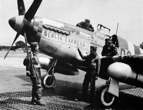 "Bill and his P-51 ""Berlin Express."" Photo by anonymous (c.1944)."