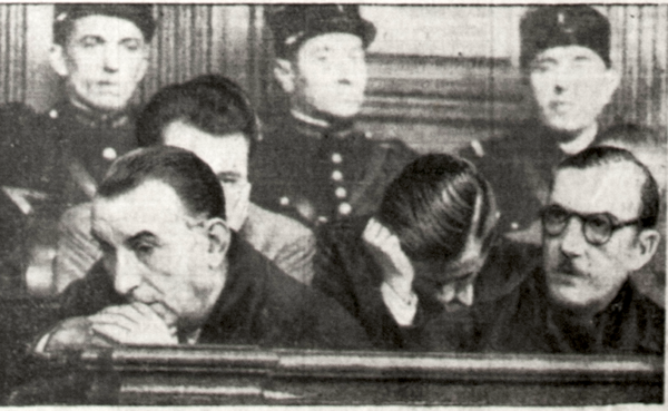 Pierre Bonny (on the right) and Henri Lafont (on the left) during their trial in the Cour de justice de la Seine, on 11 December 1944. Photo by anonymour (11 December 1944). Libération. PD-Expired Copyright. Wikimedia Commons.