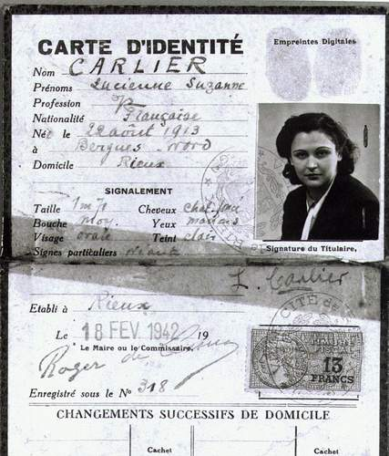 Nancy Wake's Fake Identification Papers. Photo by anonymous (date unknown). Australian War Memorial. Wikimedia.
