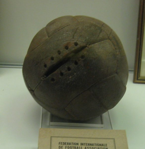 Football used in the 1930 World Cup final. Photo by Oldelpaso (July 2009). National Football Museum. PD-CCA-Share Alike 3.0. Wikimedia Commons.