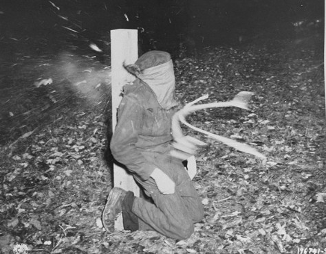 A collaborator is executed by French police. Photo by USHMM (November 1944). Courtesy of National Archives. PD-USHMM. Wikimedia Commons.