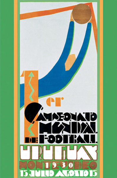 Official poster of the 1930 Football World Cup in Uruguay. Illustration by Guillermo Laborde (c. 1930). PD-70+ Wikimedia Commons.