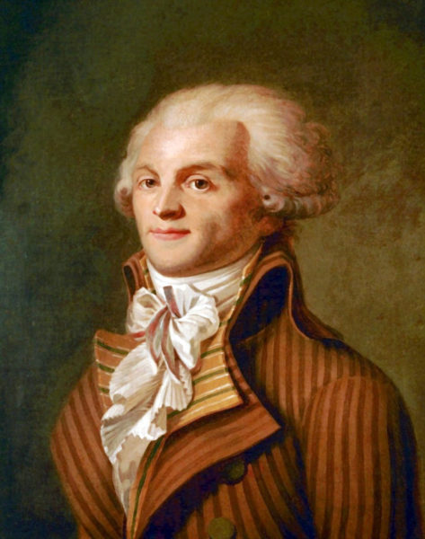 Portrait of Maximilien de Robespierre. Oil painting by anonymous (c. 1790). Carnavalet Museum. PD-100+. Wikimedia Commons.