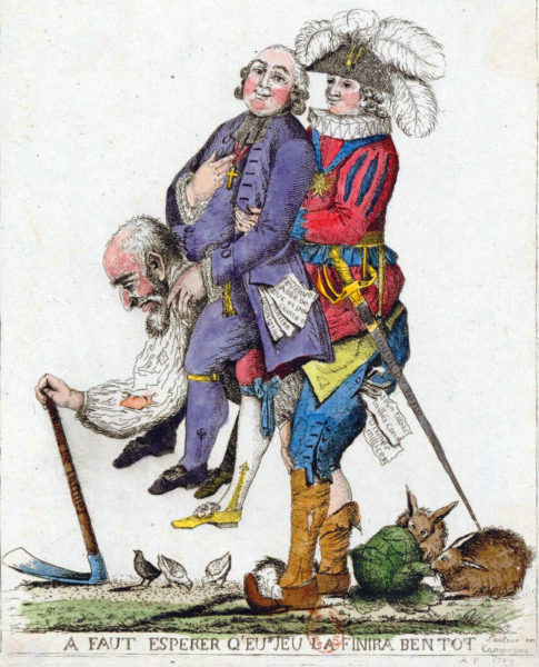 The Third Estate carrying the Clergy and the Nobility on its back. Illustration by anonymous (c. 1789). PD-100+. Wikimedia Commons.