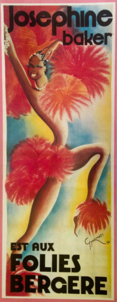VTG Poster print for Josephine Baker and the Folies Bergère. Poster art by anonymous (c. 1930s). Author's collection.