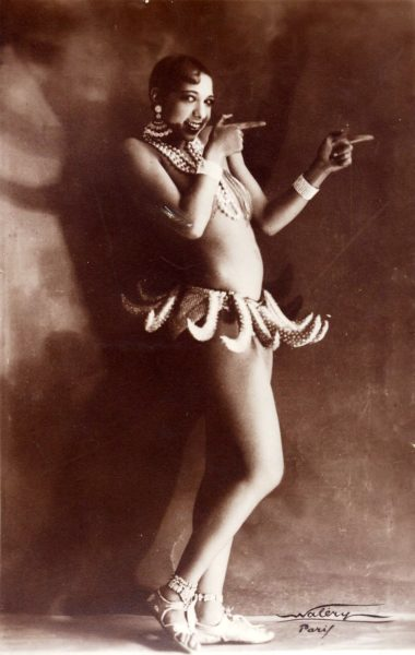 "Joséphine Baker in Banana Skirt from the Folies Bergère production ""Un Vent de Folie."". Photo by Lucien Waléry (c. 1927). PD-70+. Wikimedia Commons."