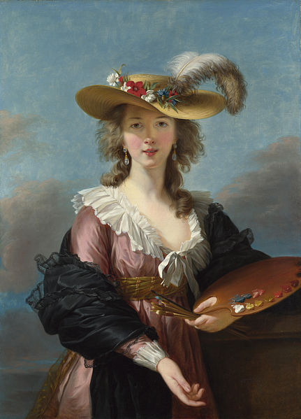 Self-portrait in a Straw Hat. Painting by Louise Élisabeth Vigée le Brun (c. 1782). PD-100+. National Gallery. Wikimedia Commons