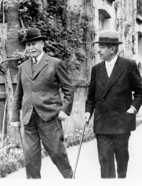 Marshal Philippe Pétain (left) and Pierre Laval (right) walking in the gardens after a meeting of the Council of Ministers in Vichy. Photo by Associated Press Photo (24 April 1942). Author's collection.