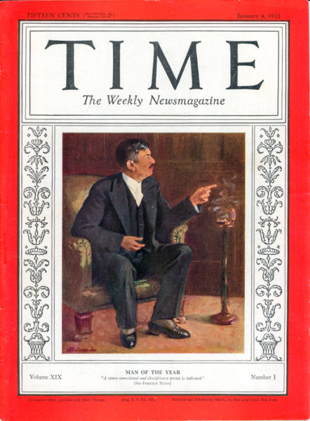 "TIME Magazine dated 4 January 1932; Pierre Laval as ""Man of the Year."" Oil painting by Harris Rodvogin. Author's collection."
