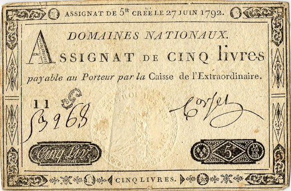 A five livres Assignats issued 27 June 1792. Photo by Sanao (date unknown). PD-70+. Wikimedia Commons.
