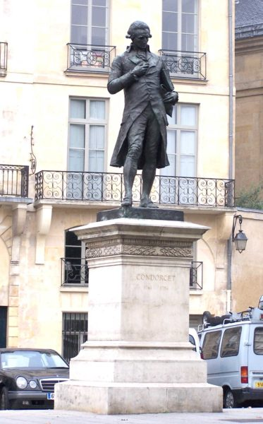 Marquis de Condorcet replacement statue. Recast in 1989. Photo by Henry Salomé (September 2006). PD-GNU Free Documentation License. Wikimedia Commons.