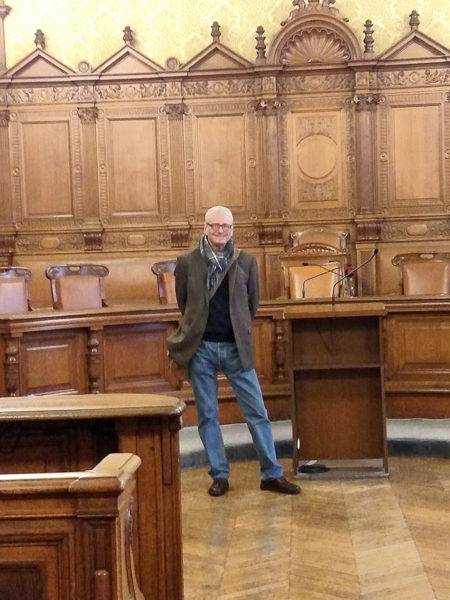 Mark standing in the courtroom in the French Palace of Justice where Marie Antoinette and the Girondins were tried. Photo by Jennifer Zane Vaughan (2015).