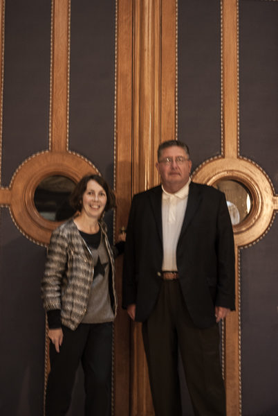 Raphaëlle and Stew standing in front of the entrance to the Paris Court of Appeals. This is the courtroom where Pierre Laval and Marshall Pétain were tried (separately). Photo by Sandy Ross.