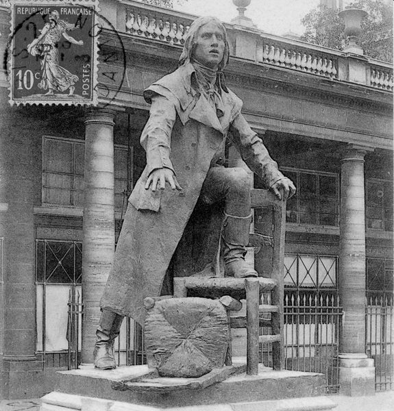 Bronze statue of Camille Desmoulins located in the gardens of the Palais Royal, Paris. Postcard photo by anonymous (c. 1906). Author's collection.
