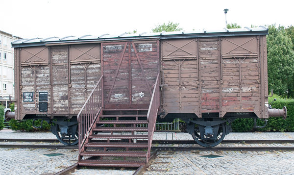 Railcar used to transport deportees to Auschwitz. Photo by Sandy Ross.