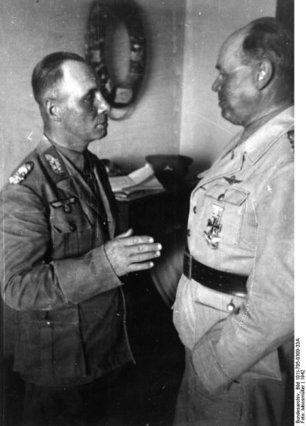 German Field Marshals Erwin Rommel (left) and Albert Kesselring (right) conferring in North Africa. Photo by Moosmüller (1942). Bundesarchiv, Bild 101I-785-0300-33A/Moosmüller/CC-BY-SA 3.0. Wikimedia Commons.