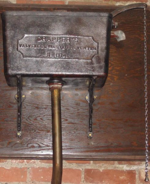 Crapper's valve less waste preventer. Photo by Fawcett5 (2005). PD-release by photographer. Wikimedia Commons.
