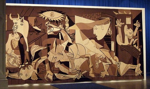 Tapestry of Picasso's Guernica, by Jacqueline de la Baume Dürrbach, at the Whitechapel Gallery in London. Photo by ceridwen (31 October 2009). PD-Creative Commons Attribution-Share Alike 2.0. Wikimedia Commons.